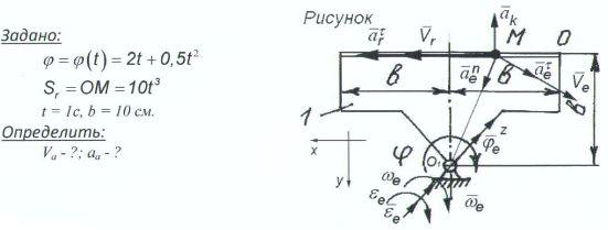 Определить скорость и ускорение точки м по рисунку